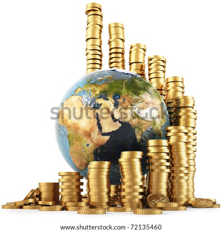 globe with twisted diagram of golden coins isolated on white. with clipping path. - stock photo