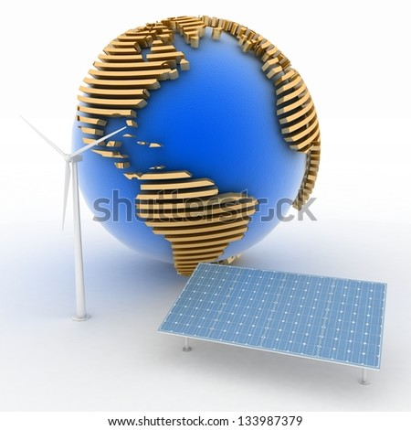 Globe with Windmill and Solar Panels on white background. Alternative Energy Concept. - stock photo