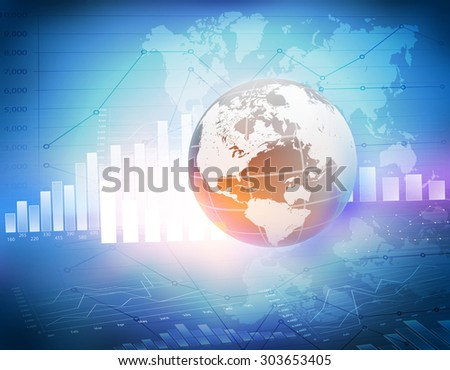Globe with world map icons and charts