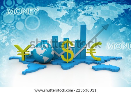 Globe, world and chart business graph concept  - stock photo