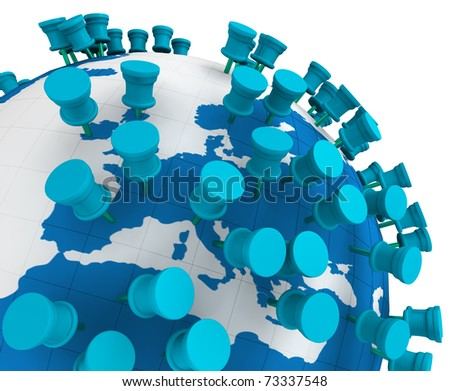 Globe world map and Push Pins isolated in white - stock photo