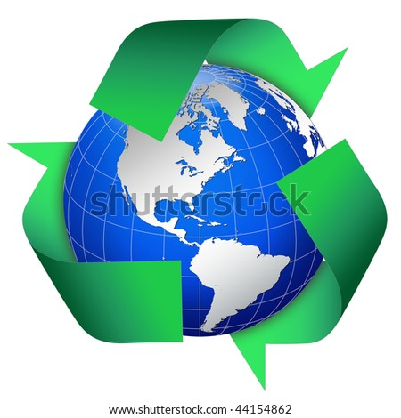 Globe world with blue oceans and green recycle symbol