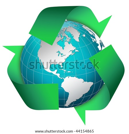 Globe world with green recycle symbol