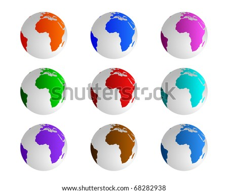 Globes in different colours