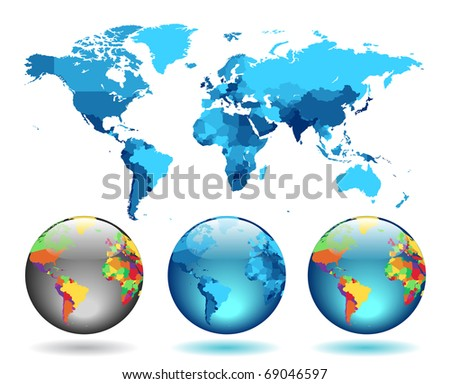 Globes on blue detailed map. Raster version. Vector version is also available.