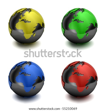 Globes showing Europe and Africa over white background with drop shadow - clipping path included - stock photo
