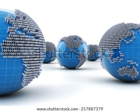 Globes with binary code, 3d render, white background