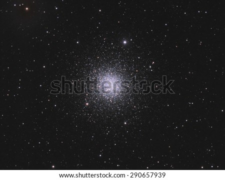 Globular Cluster M3 - is a cluster of stars about 34,000 light years away in the constellation Canes Venatici. This cluster contains about 500,000 stars and is about 8 billion years old. - stock photo