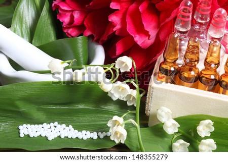 Globules, flowers, medical - stock photo