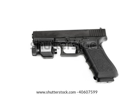 Glock 9mm. Police issue handgun, left side isolated