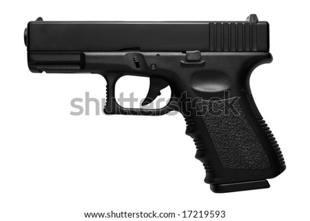 Glock pistol, airsoft version isolated over white - stock photo
