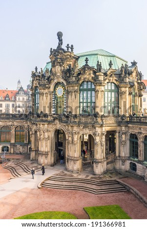 Glockenspiel Pavillon (carillon pavilion). Zwinger Palace (architect Matthaus Poppelmann) - royal palace 17 century in Dresden, Germany. Today, Zwinger is a museum complex and most visited monument.
