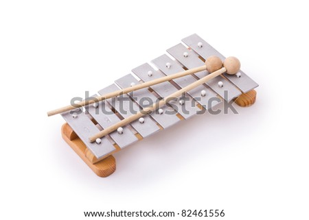 Glockenspiel with two mallets isolated on white - stock photo