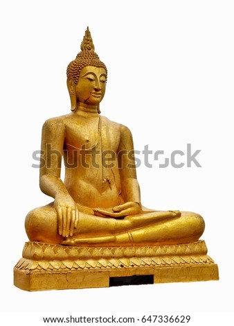 Gloden buddha isolated on a white background.