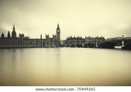 Gloomy and dark image of Houses of Parliament - stock photo