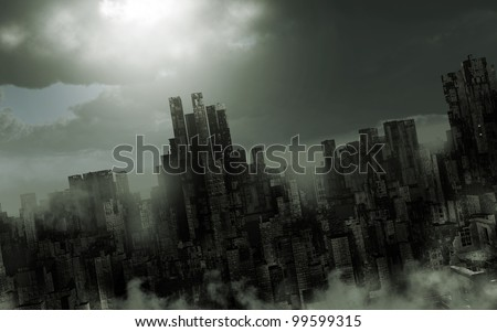 Gloomy apocalyptic scenery - stock photo