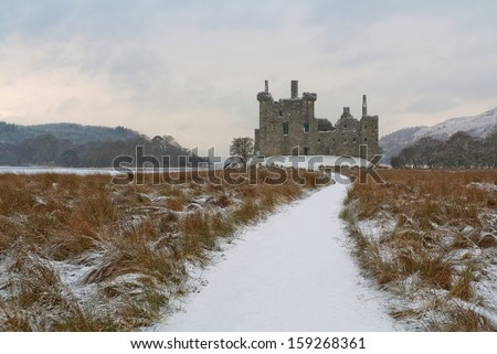 Gloomy castle where ghosts live - stock photo