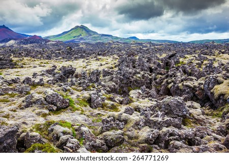 Gloomy Iceland in the summer. Fields covered with lava, in the central part of the island - stock photo