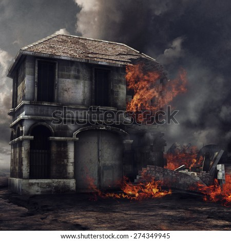 Gloomy landscape with an old ruined house on fire - stock photo