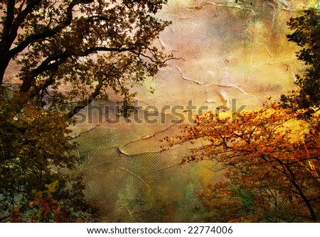 gloomy sunset - artwork in oil painting style - stock photo