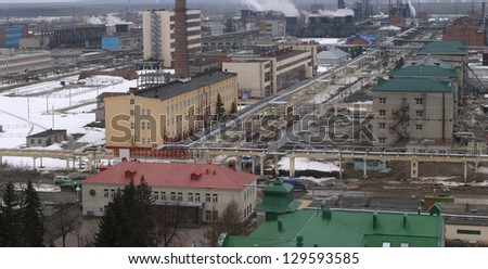 gloomy top view of the industrial zone
