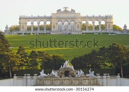 Gloriette, Schonbrunn complex, Vienna - stock photo