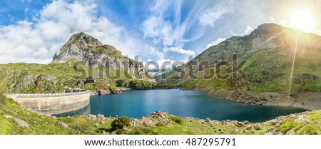 Gloriettes lake - is an artificial lake formed with the Gloriettes dam on the Gave d'Estaube river in the Hautes-Pyrenees, France