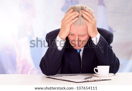 Glorious elderly man, working in very different fields of activity - stock photo