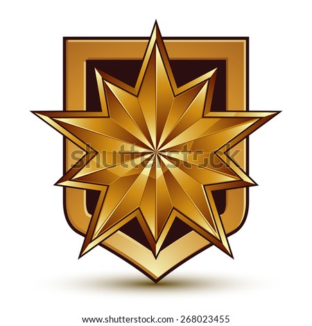 glorious glossy design element with luxury 3d polygonal golden star, conceptual graphic template - stock photo