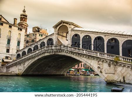 Glorious Rialto bridge in Venice, Italy - stock photo