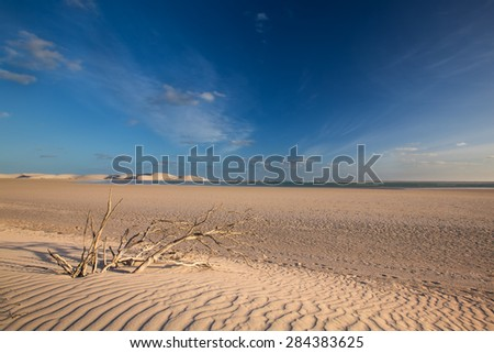 Glorious sand dune in the distance over an empty tidal lagoon - stock photo
