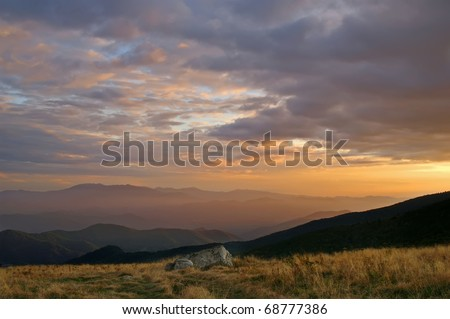 Glorious Sunset View From Roan Mountain Horizontal - stock photo
