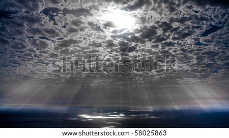 Glory Rays of Sun from the Sky - stock photo