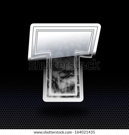 Glossy Alphabet black marble with chrome rims, T on dark background. - stock photo