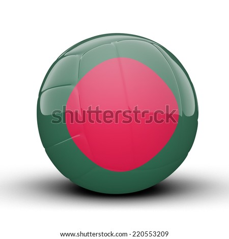 Glossy Bangladesh volleyball ball flag isolated on white background - stock photo