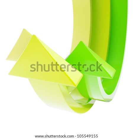 Glossy bend arrow copyspace colorful abstract background - stock photo