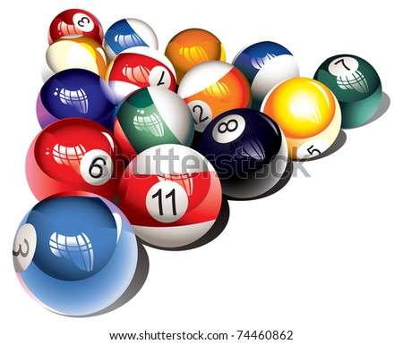 Glossy billiard balls set, raster from vector illustration - stock photo