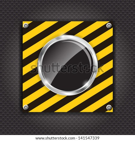 Glossy black button on a cunstruction background  illustration