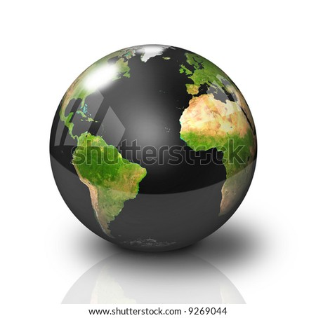 Glossy Black Earth Globe with polluted oceans - stock photo