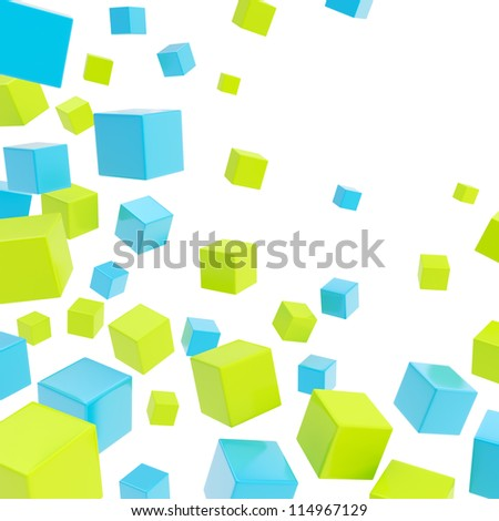 Glossy blue and green cube copyspace composition over white background as abstract backdrop - stock photo