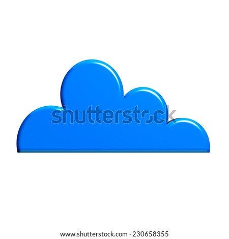 Glossy blue cloud isolated in white background - stock photo