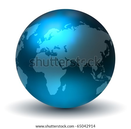 Glossy Blue Earth Globe - stock photo