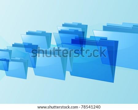 Glossy blue folders on a blue landscape background - stock photo