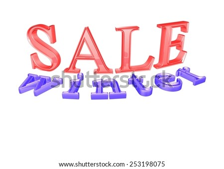 Glossy blue three-dimensional inscription Winter Sale as a sign. - stock photo