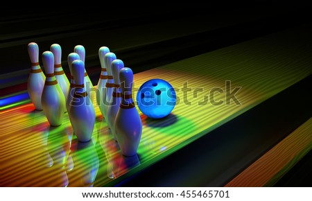 Glossy bowling ball and skittles on the alley. Dark scene with rainbow shining colors. 3D render image.