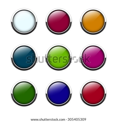 Glossy buttons set, empty in the middle. May be used for web, interface or print.