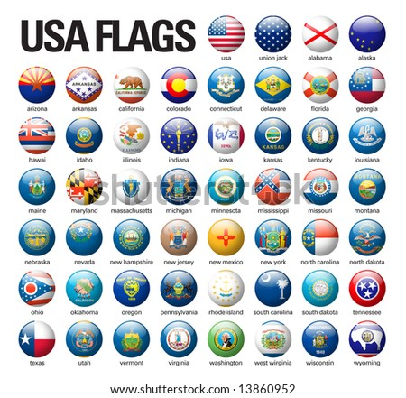 glossy buttons with USA flags - stock photo