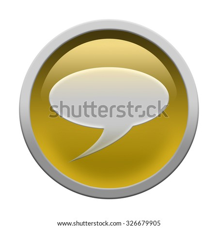Glossy chat icon button isolated over white background - stock photo