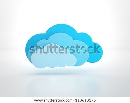 glossy cloud on white - stock photo