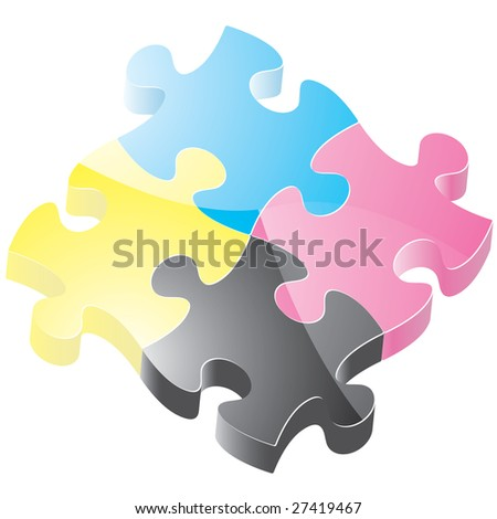 Glossy CMYK coloured puzzle pieces - stock photo